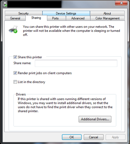 How to share a printer on Windows 7 with a VMware