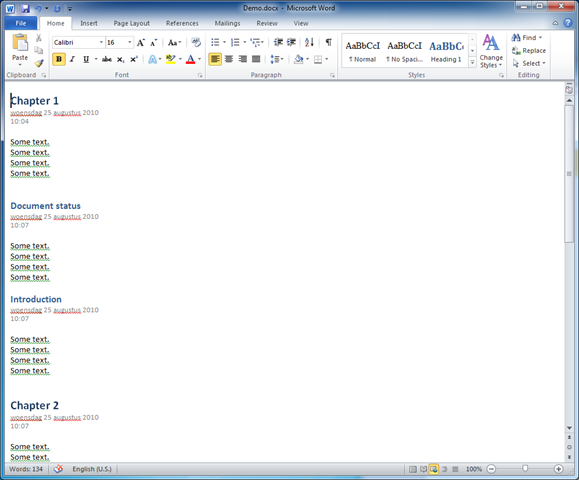 how to build a table of contents in word 2010
