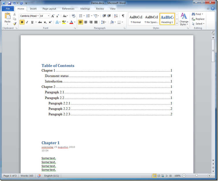 How to generate a table of contents for an onenote 2010 for Table of contents template word 2010