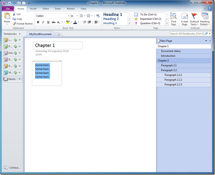 How to generate a table of contents for an OneNote 2010