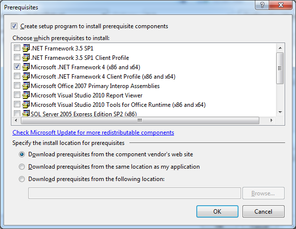 Microsoft Visual Studio Setup prerequisites, launch conditions and ...