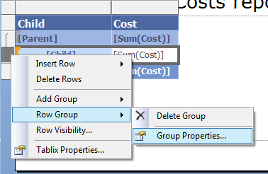 How to collapse / expand a specific row group in a tablix in