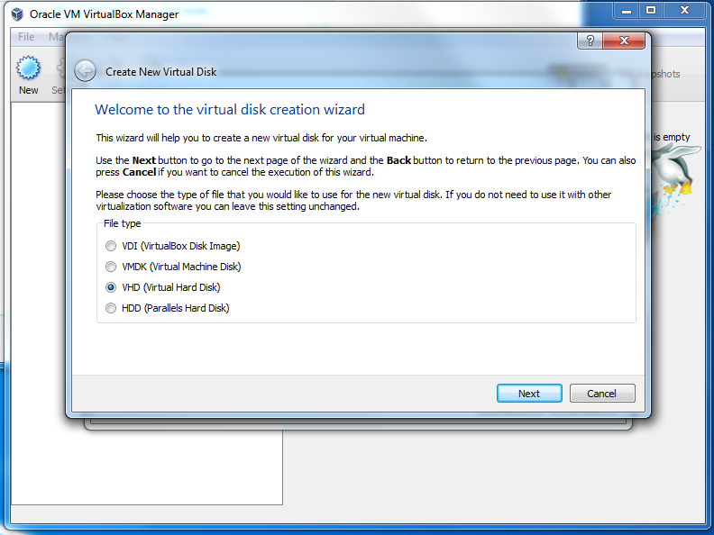how to create windows 7 image for virtualbox