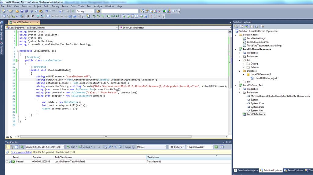 Using SQL Server 2012 LocalDb in VS11 and VS2010 for testing