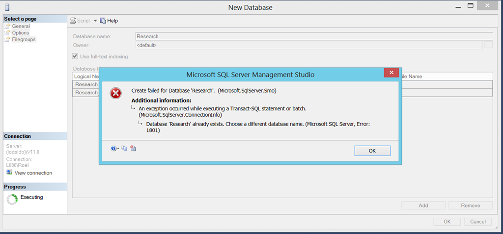 How to restore a database on a Microsoft SQL Server LocalDb