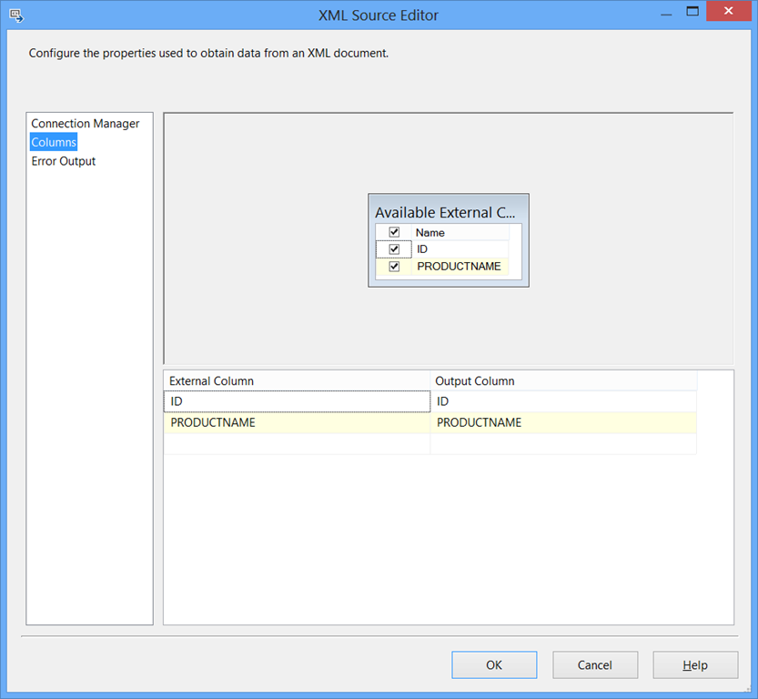 SSIS 2012 not showing correct Available External Columns in
