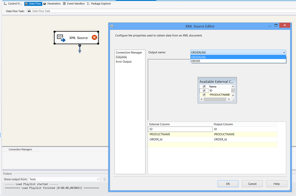 SSIS 2012 not showing correct Available External Columns in Xml