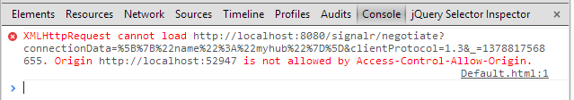 ASP NET SignalR self hosting: Fixing the error XMLHttpRequest cannot