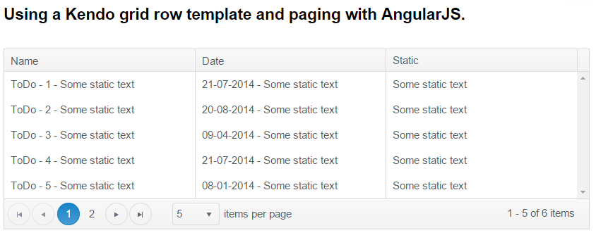 Using A Kendo Grid Row Template And Paging With Angularjs